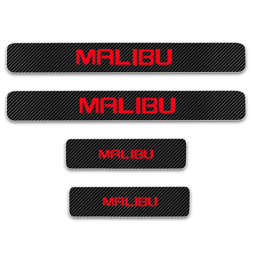 for Chevrolet Malibu Door Sill Protector Reflective 4D Carbon Fiber Sticker Door Entry Guard Door Sill Scuff Plate Stickers Auto Accessories 4Pcs White SLONG