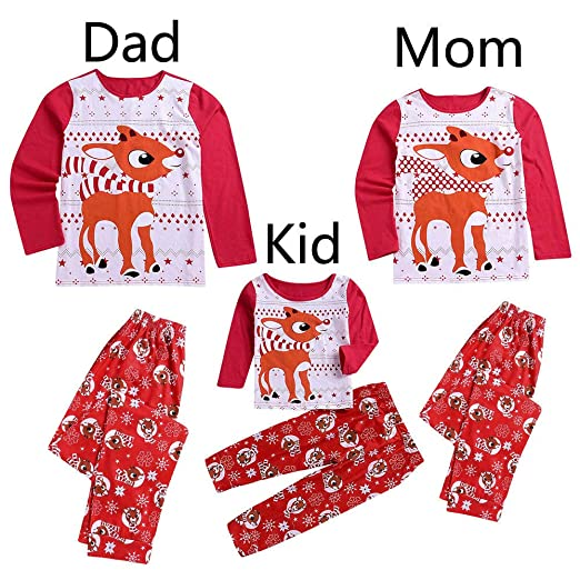 438f0dcca6 Seaintheson Christmas Pajamas Sets Family Matching 2 PCS Deer Print PJs Sets  Long Sleeve T-