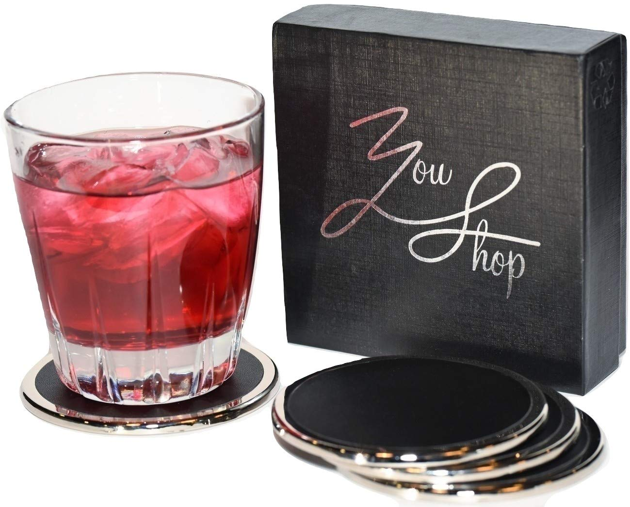 YouShop Luxury Coasters for Drinks - Premium Metal, Black Leather, Velvet Base | Contemporary and Clean Style, Modern Coaster Set for Living Room, Kitchen, or Office Cup Coasters | Protect Furniture by YouShop (Image #8)