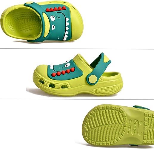 JACKSHIBO Boys Girls Water Sandals Toddler Clogs Closed Toe Sport Sandals Stranger Thing Dinosaur Clogs