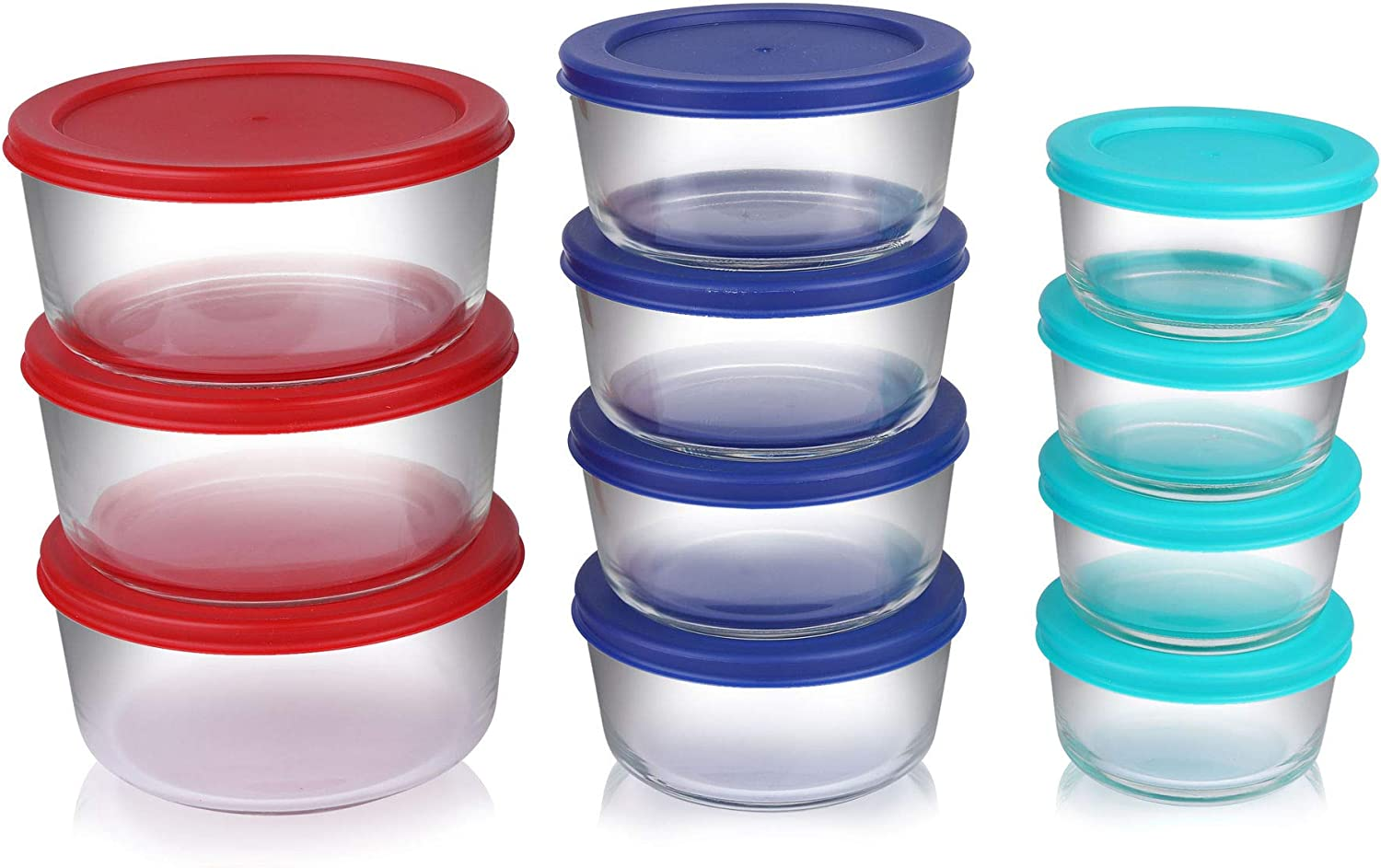 Bovado USA Round Food Storage Containers with Plastic Lids, Mixed Sizes, Set of 11