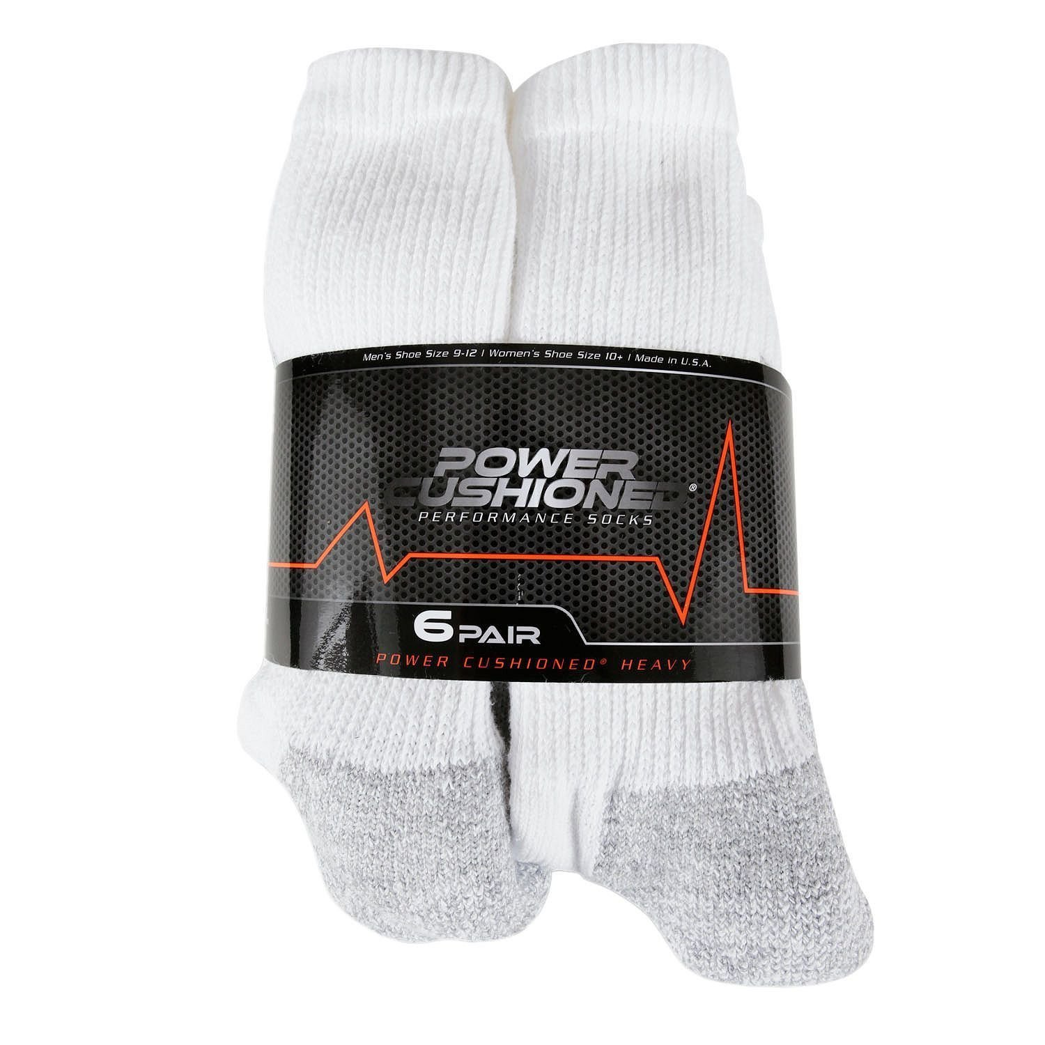 the best attitude 337f4 ca3f5 Power Cushioned Performance Crew Large 6 Pair Pack (White)