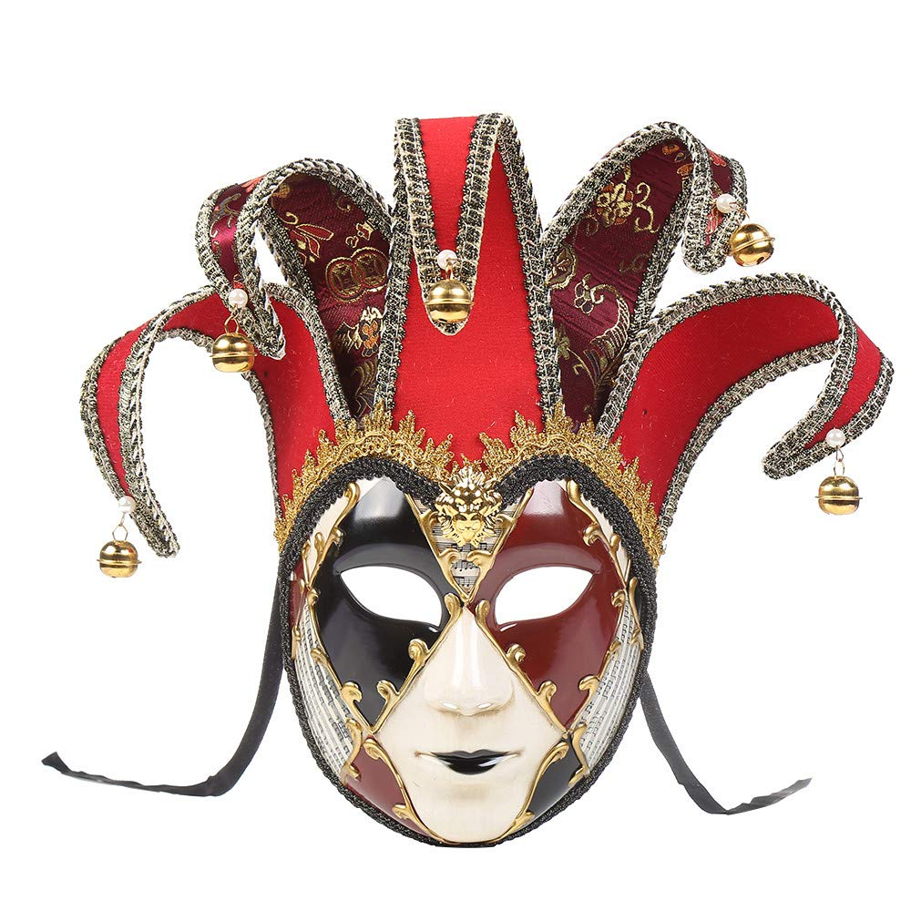 Dacawin Christmas Party High-End Mask,Full Face Venetian Joker Masquerade Theater Mask Mardi Gras Party Ball Mask (Red, 6.7''x17.3'') by Dacawin