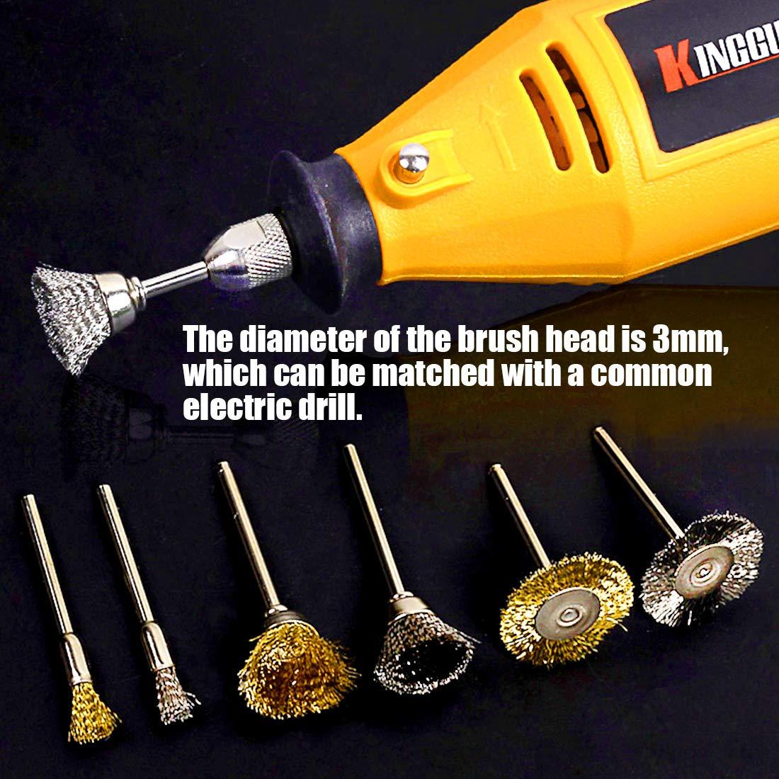 Polishing Buffing Wheel Steel Brass Wire Brush Drill Bit For Rotary Tool 36Pcs