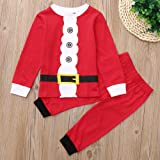 XoiuSyi,2PCS Children Kids Cartoon Button Print Top T-Shirt+Pants Christmas Set Outfit