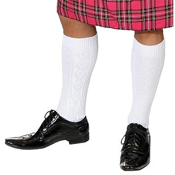 Calcetines hasta la rodilla para hombre calcetines Pop blanco calcetines de disfraces escocés para hombre ciclismo