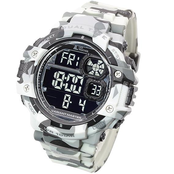 LAD WEATHER Exteriores Reloj Militar Cronómetro Marcador de Pasos Camuflaje Resistente al Agua 100 m (