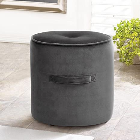 Cool Fanilife Seating Footstool Footrest Ottoman Pouffe Round Chair Foot Stool Luxury Velvet Cover Grey Andrewgaddart Wooden Chair Designs For Living Room Andrewgaddartcom