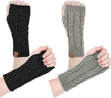 Women Arm Warmers - Winter Warm fingerless gloves knit hand warmers Crochet  Thumb hole wrist warmers mittens at Amazon Women's Clothing store