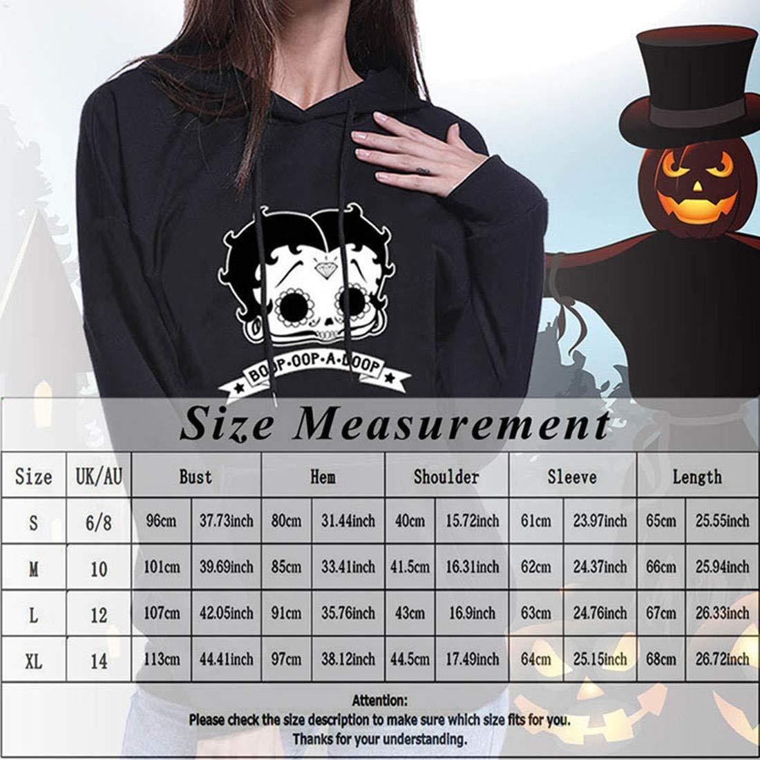 AbePa Womens Loose Workout Autumn Winter Halloween Printed Hoodie Long Sleeve Pullover Hoodie