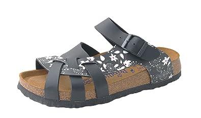 Birkenstock Pisa Women's Soft Footbed Sandal 382133 Sixties Flowers black black , Damen Größen:38;Farben:schwarz