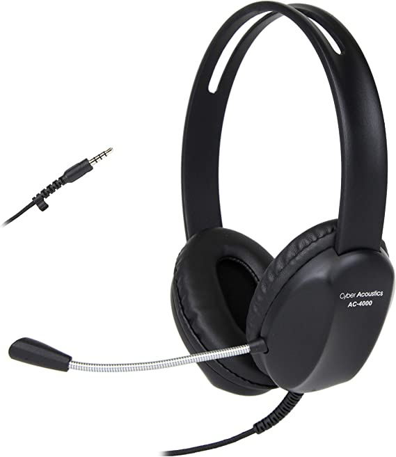 Cyber Acoustics 3.5mm Stereo Headset with Headphones and Noise Cancelling Microphone for Pcs