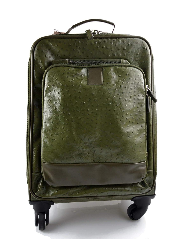 Maleta de avion in piel verde trolley rígida maleta de cuero bolso de cuero de viaje hombre mujer bolso de cabina bolso con ruedas