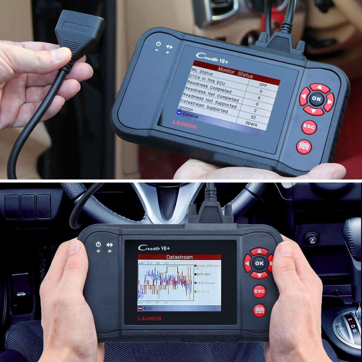 The airbag scanner is handheld and perfectly portable, although its wide profile requires two-hand usage for efficiency