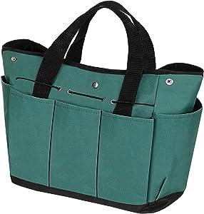 Garden Tool Bag Gardening Tote Bag Outdoor Multi Pocket Garden Tool Kit Organizer Bag Compact Hand Tool Gardeners Storage Bag (Green)