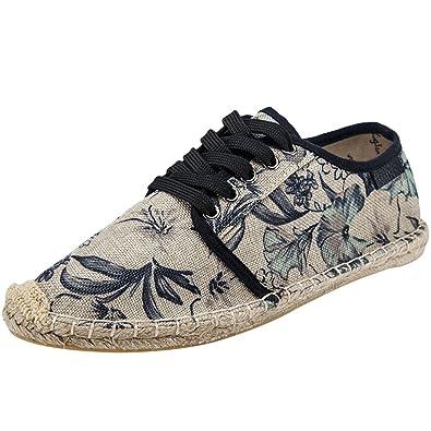 Vogstyle Damen/Herren Espadrilles Slipper Beiläufig Blumen Flach Schuhe Art 1-Orange Asian 38 ggJynnn