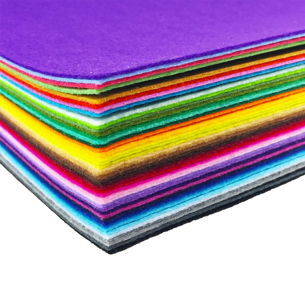 15cm 15cm, 44pcs Assorted Color Felt Fabric Sheets Patchwork Sewing DIY Craft 1mm Thick /… 15 x 15cm flic-flac 44PCS 6 x 6 inches