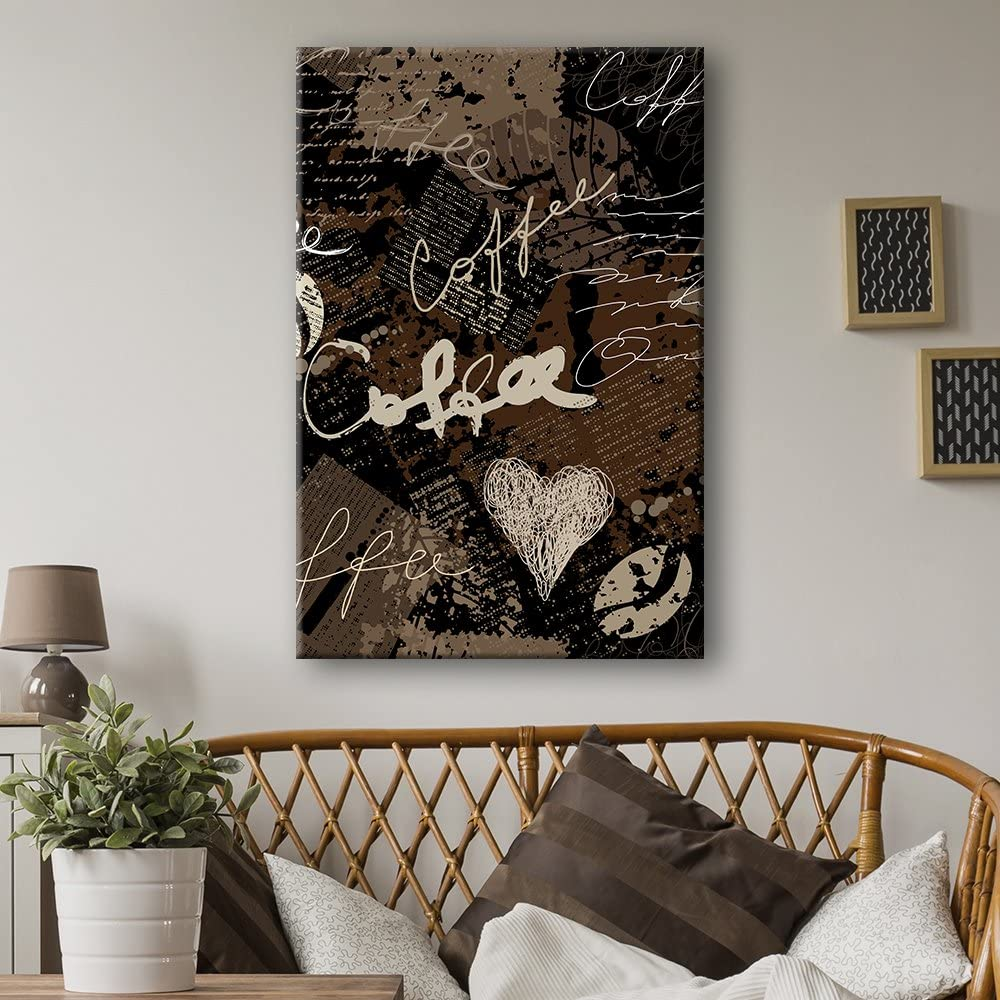 wall26 Canvas Wall Art - Grunge Style Coffee Concept Art - Giclee Print Gallery Wrap Modern Home Art Ready to Hang - 16x24 inches