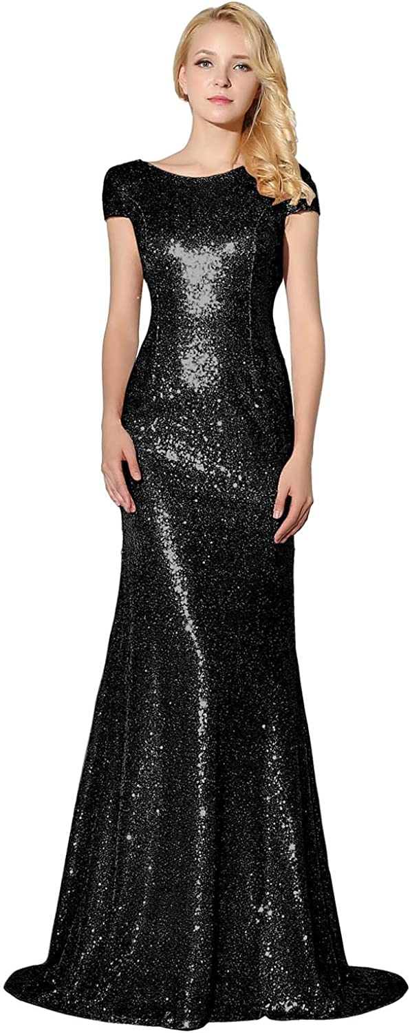 Sarahbridal Women's Sexy Trumpet Mermaid Prom Evening Dresses Sequin Bride Bridesmaid Gowns