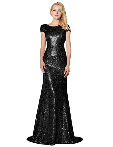 500a3fabeca Belle House Women s Long Black Bridesmaid Gown Sequined Prom Dresses Short  Sleeve