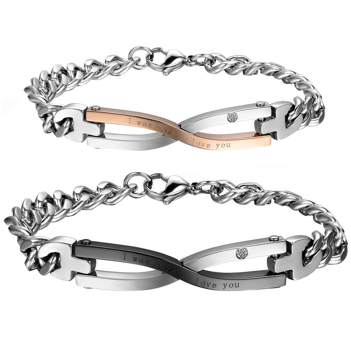 891126883335 Amazon.com  Cupimatch 2PCS Stainless Steel Matching Love Couples Bangle  Bracelets Link Chain Gift (Infinity)  Jewelry