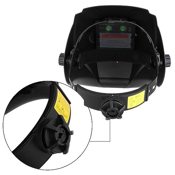Careta para Soldar Casco de Soldadura Máscara para Soldar de Energía Solar de Oscurecimiento Automático y Ajustable con Vidrio de Repuesto y Atenuación ...