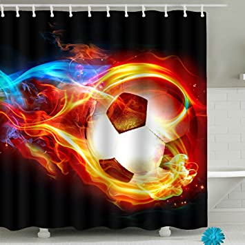 Image Unavailable Not Available For Color Fire Soccer Bathroom Shower Curtain Sets
