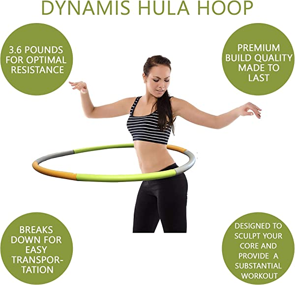 Dynamis Fat Burning Weighted Hoola Hoop, Premium Adult Exercise Fitness Trainer - Assist in Weight Loss, Stamina, Burning Calories, and Abdominal Core...