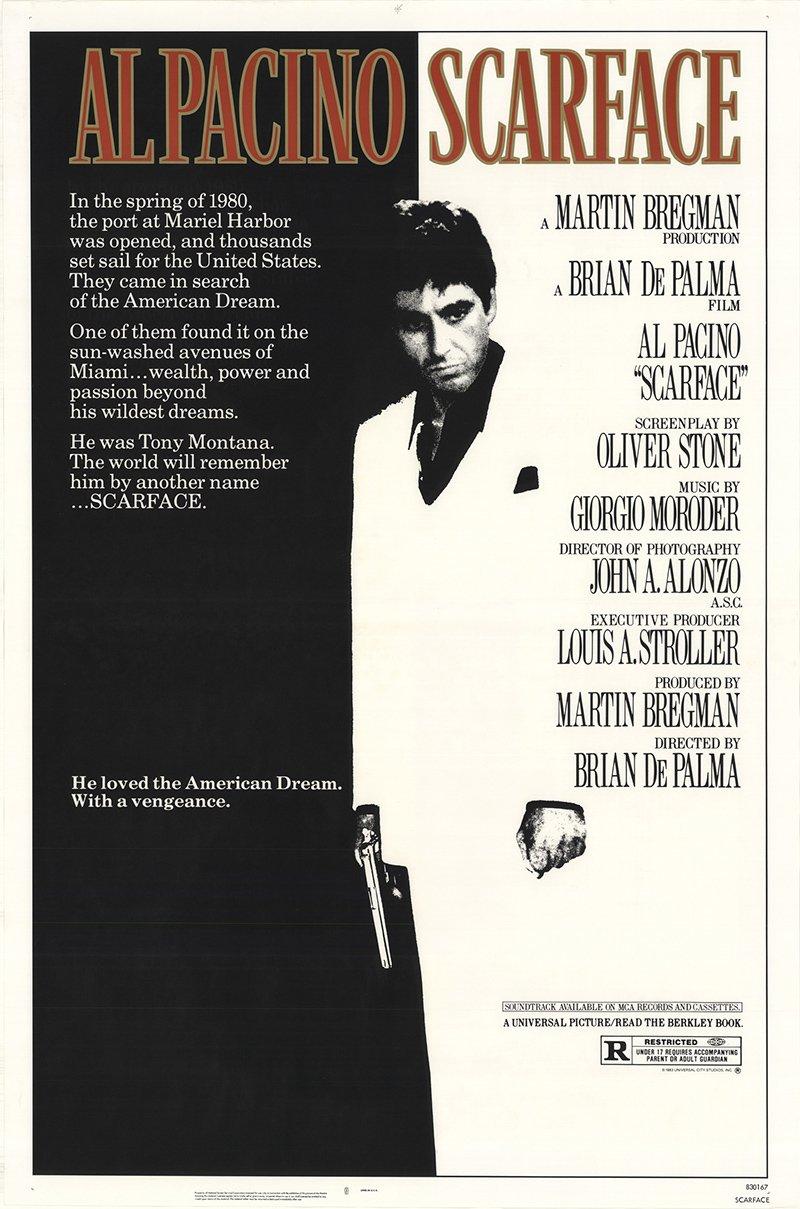Scarface 1983 Authentic 27' x 41' Original Movie Poster Rolled Near Mint, Very Fine Al Pacino Drama U.S. One Sheet