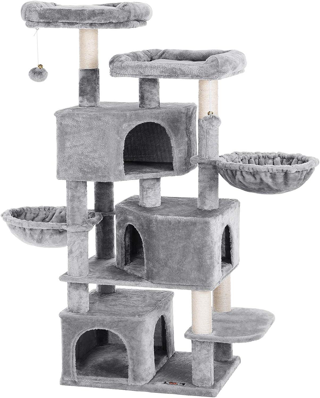 FEANDREA Árbol Grande para Gatos con 3 Cuevas para Gatos, Torre para Gatos de 164 cm, Gris Claro PCT98W