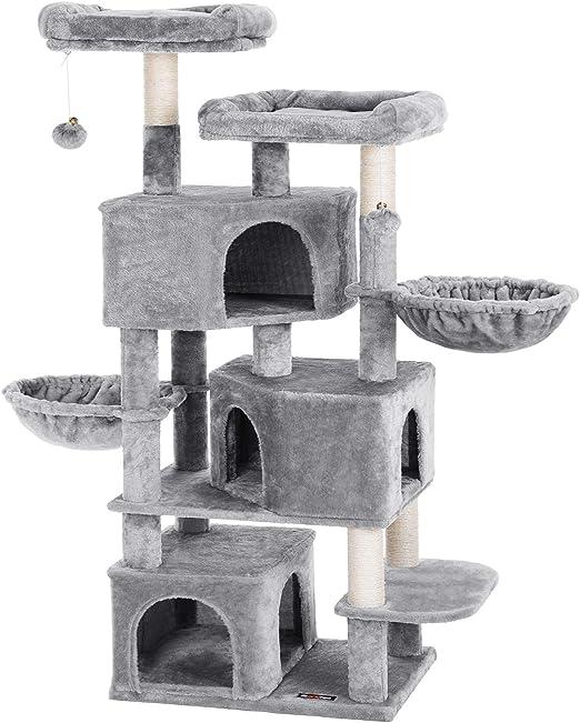 FEANDREA Árbol Grande para Gatos con 3 Cuevas para Gatos, Torre para Gatos de 164 cm, Gris Claro PCT98W: Amazon.es: Productos para mascotas