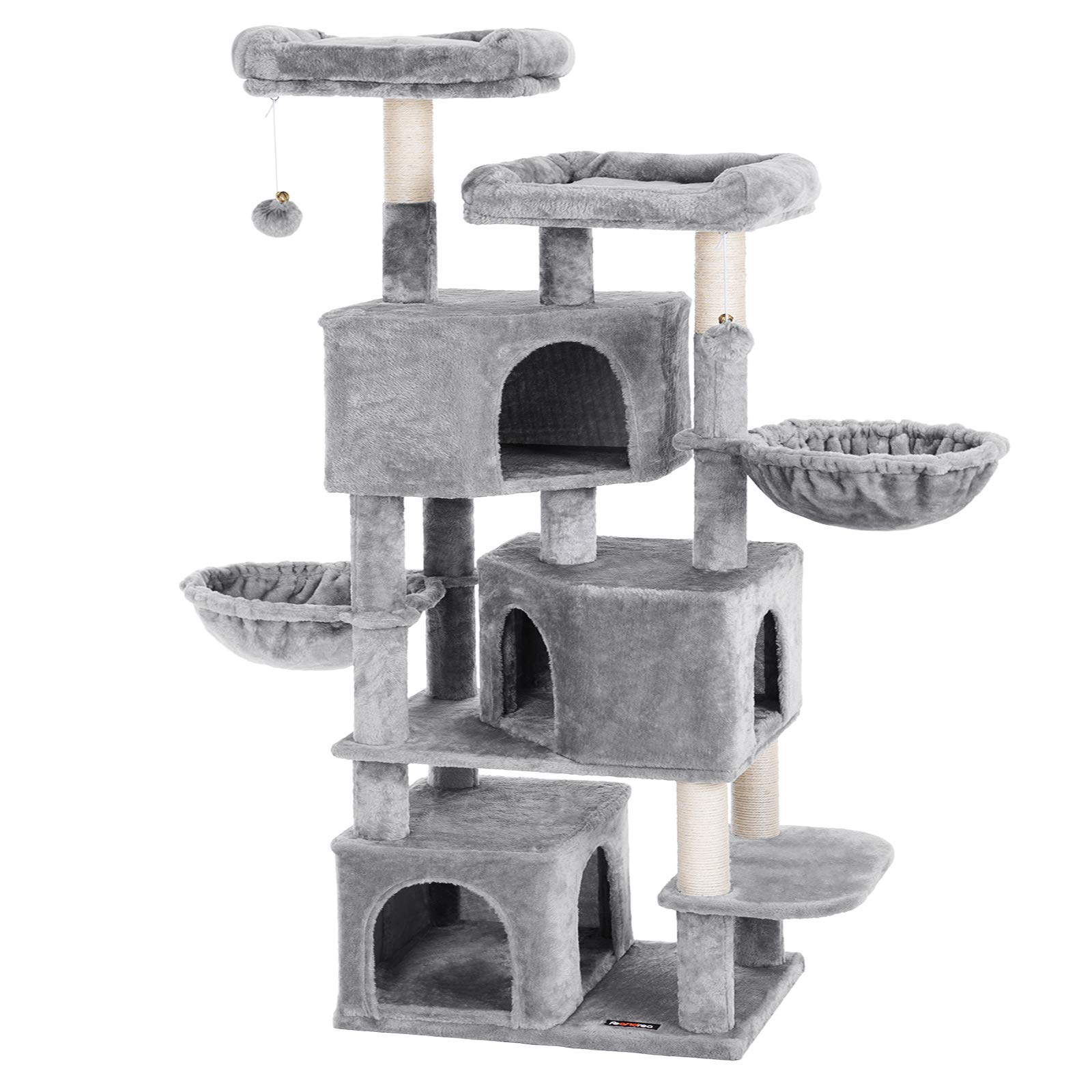 FEANDREA Large Cat Tree with 3 Cat Caves, Multilayer Cat Tower Suitable for Kittens, Old Cats, Stable Light Gray Cat Condo, 21.7 x 15.7 x 64.6 Inches UPCT98W by FEANDREA