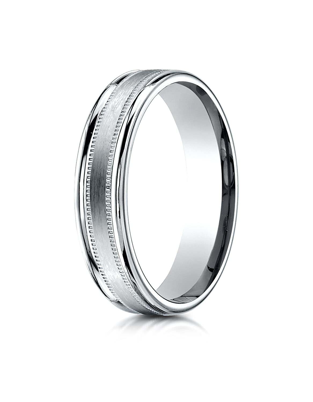 14k White Gold 4mm Comfort-Fit Satin Finish Center Round Edge milgrain Carved Design Wedding Band Ring