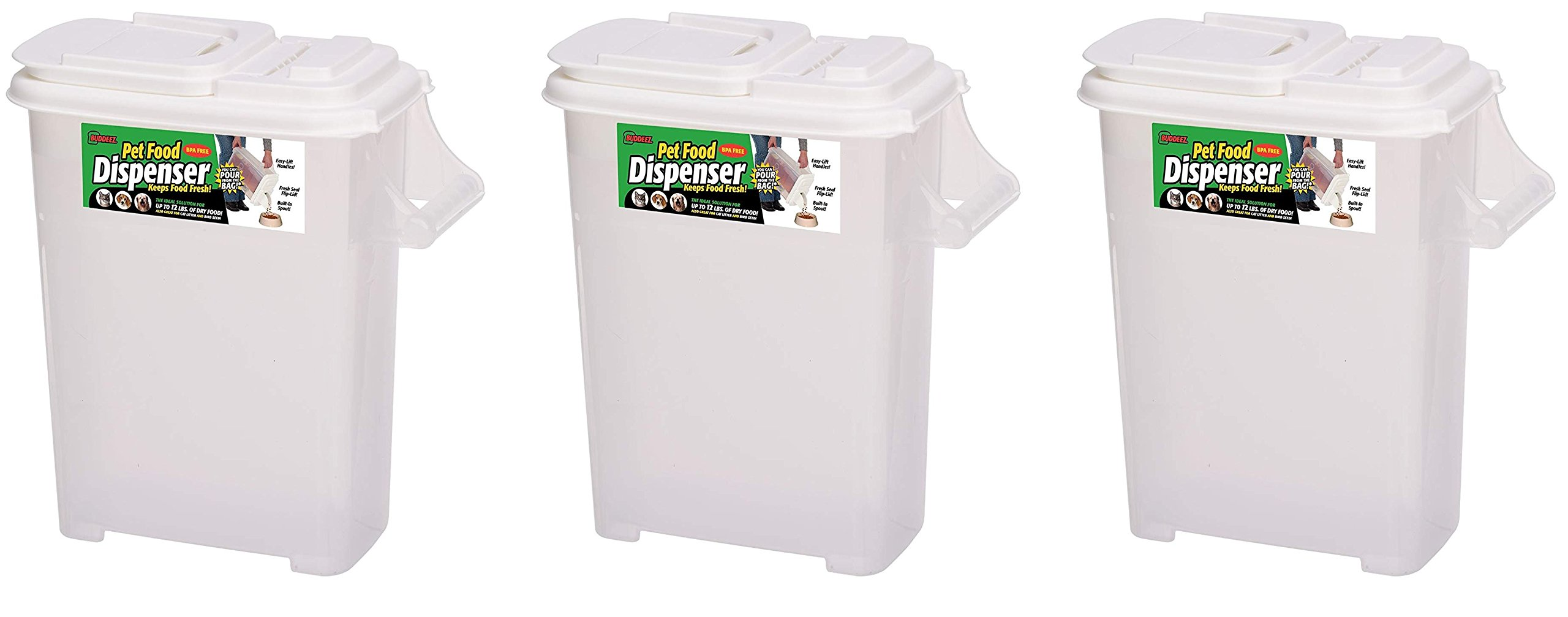 Buddeez Medium (Up to 12lb) Fresh Dry Dog & Cat Food Plastic Storage Container With Flip Lid and Pour Spout For Pet Food and Bird Seed, BPA Free by (3-Pack)