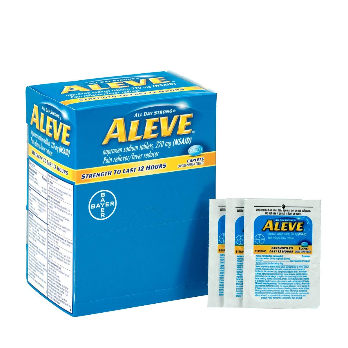 Aleve, 50x1/box | Aleve Naproxen Sodium Medication, 50 Packets of One Tablet by Brite Safety