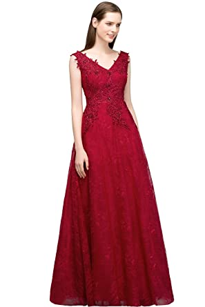 Misshow Juniors Long Masquerade Ball Gown Lace Appliques Semi Formal Dress (Burgundy, 6)