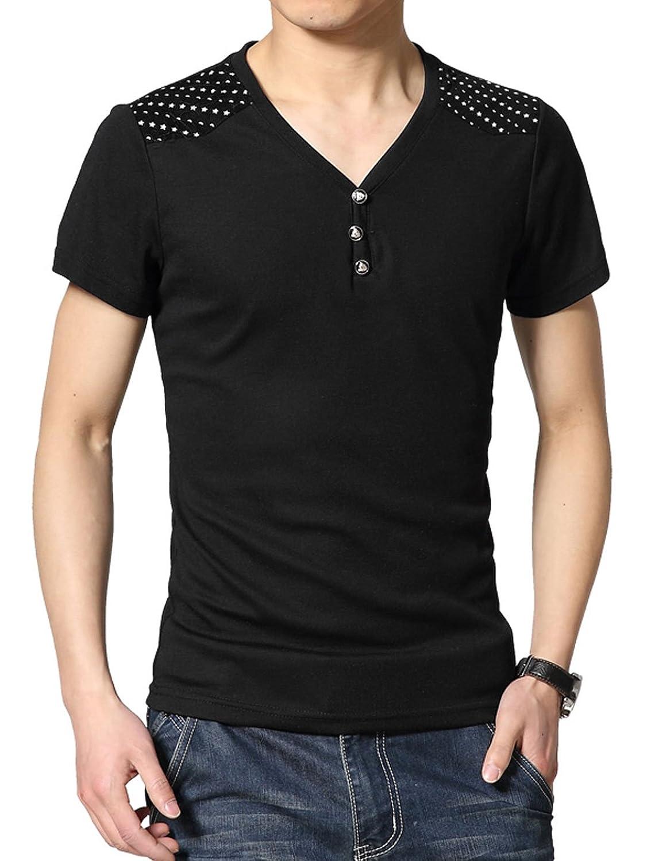 Men V Neck Corduroy Shoulder Contrast Detail Casual T-shirts