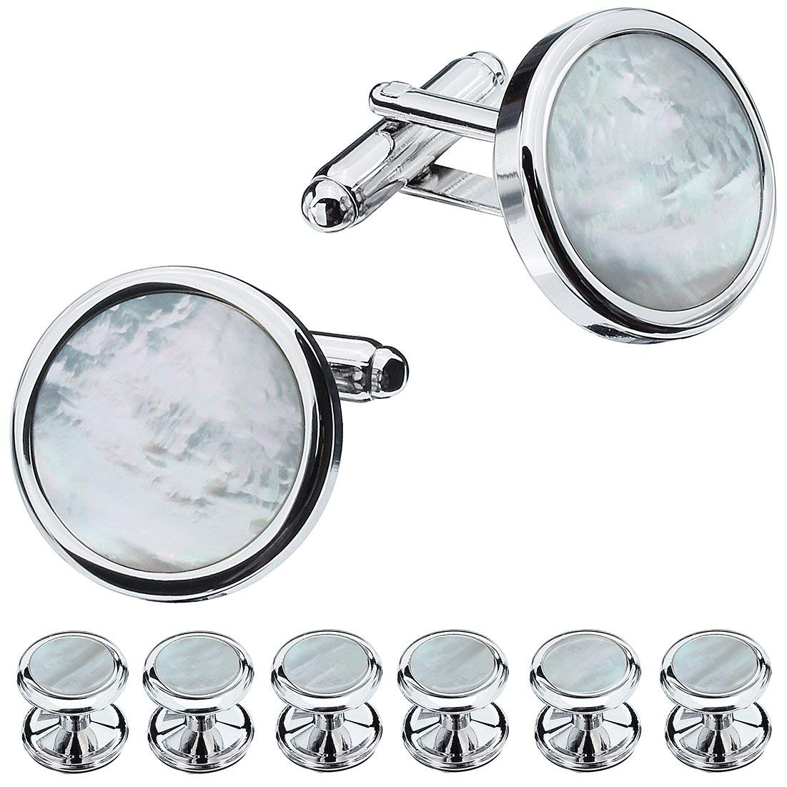HAWSON Mother of Pearl Man Tuxedo Shirt Studs and Cufflinks Set for Wedding Business (Silver Tone- MOP)