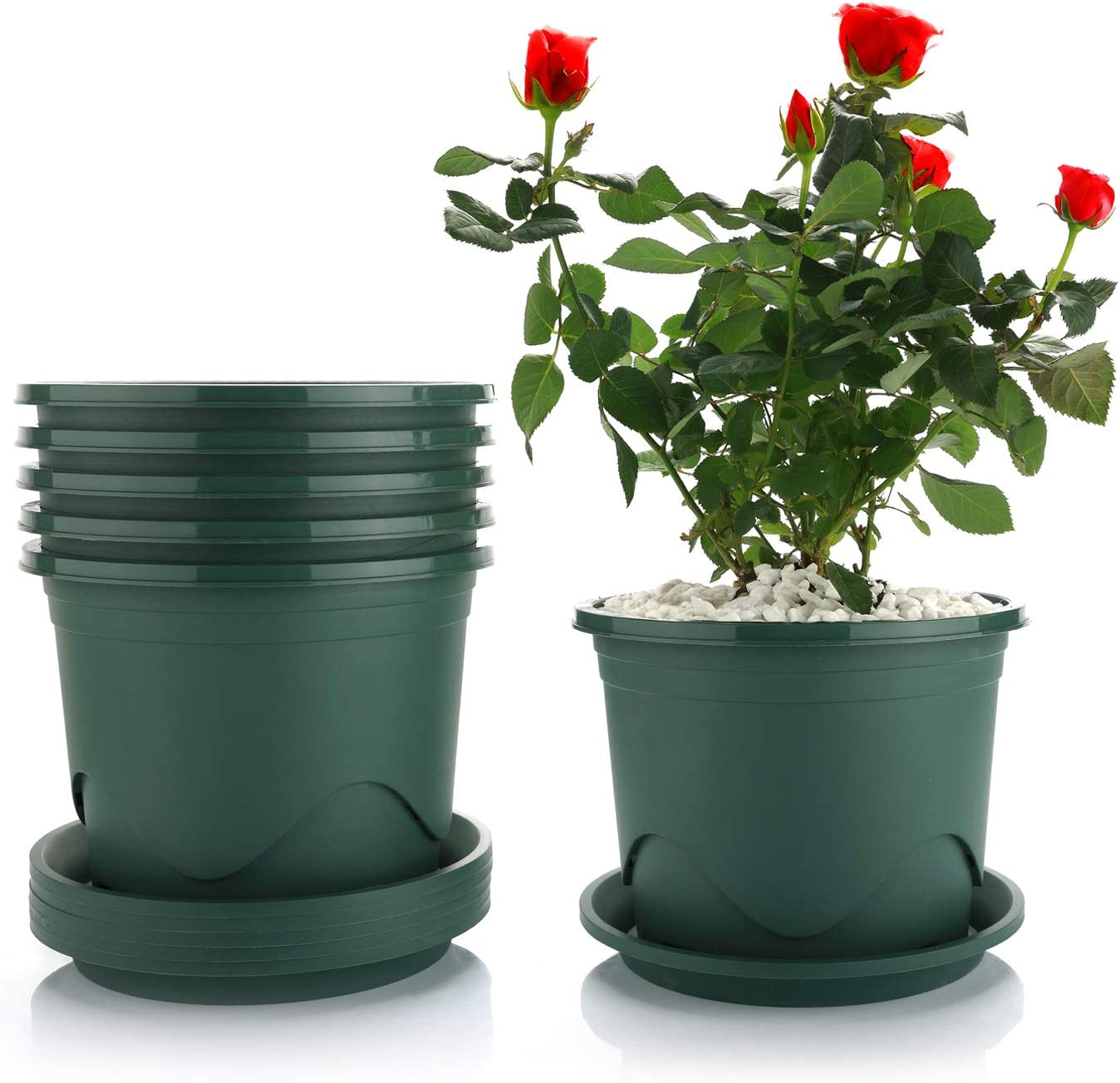 T4U Plastic Planter with Saucer 6.5 Inch Root Control Set of 6, Dark Green Flower Plant Pot Nursery Seedling Planter Modern Container 0.5 Gallon Outdoor Indoor Use for All House Plants Herbs Cactus