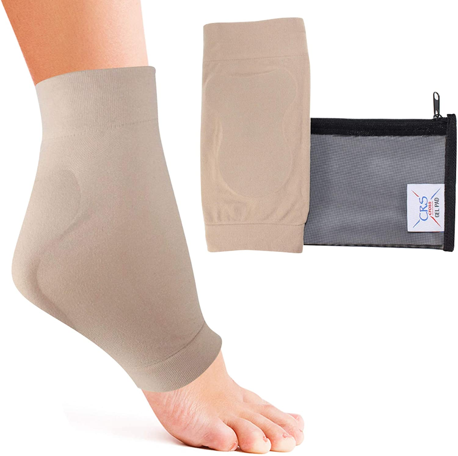 CRS Cross Achilles Heel Sleeve - Premium Padded Compression Gel Sleeve/Sock for Cushion & Protection of Haglunds Bump, Achilles tendonitis, and Bursitis (One Size fits Most)