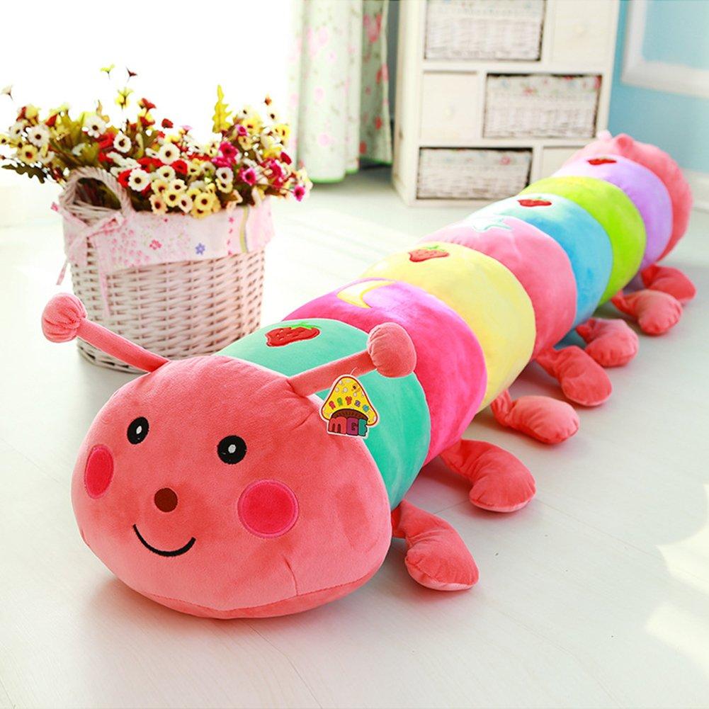 [トレンディホット]クリエイティブかわいいラベンダーColorful Caterpillar Short Plush人形枕(ピンク) 35.1