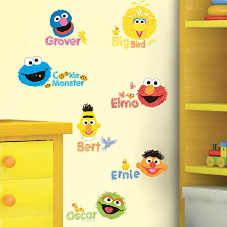 Sesame Street Scribble Wall Sticker 26 Decal Big Bird Elmo Grover Kids Room Home Decor Amazon Co Uk Kitchen Home