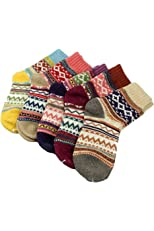 5 Pairs Women Ladies Thick Winter Socks Warm Wool Nordic Novelty Sock