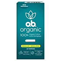 o.b. Organic Tampons, 100% Organic Cotton, Proven 8 Hour Leak Protection, Regular, 24Count