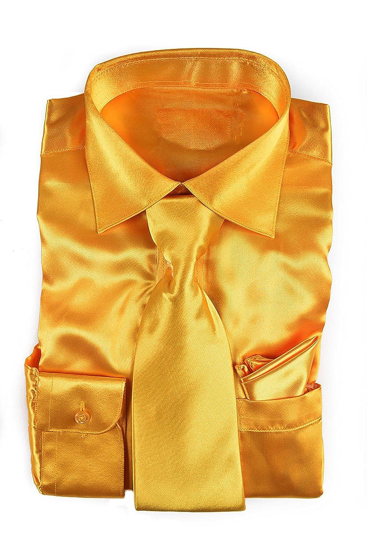 0e05e995 Classy Men's Satin Shiny Yellow Gold Shirt Set + Matching Tie and Hanky