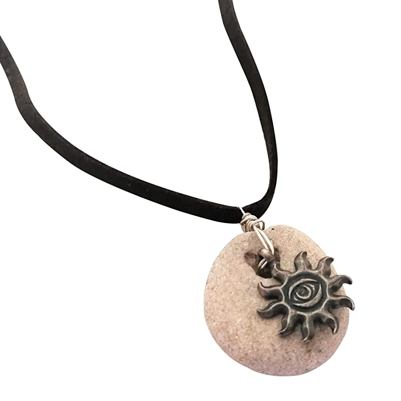 Beaded Necklace With Natural Witches Amulet And Charm Lotus Hag Stone Necklace Spiritual Jewelry Pendant Necklaces Handmade Products How to make an amulet: beaded necklace with natural witches