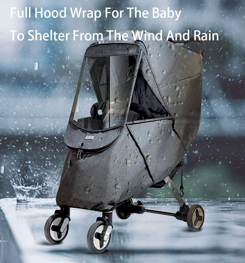 Baby Stroller Sun Shade Canopy,Universal Baby Sunshade,Zippered Infant Insect Netting Cover Awning Waterproof and Windproof by ACOMG (Image #5)