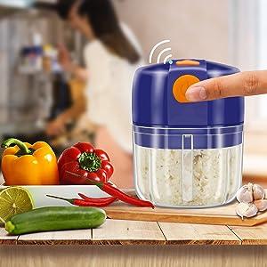 Mini Garlic Chopper Electric Vegetable Chopper,250ml Food Processor Wireless Slicer Mincer Masher Blender for Meat/Garlic/Chili/Vegetables/Onions/Nuts/Pepper/Ginger/Salad (Blue)