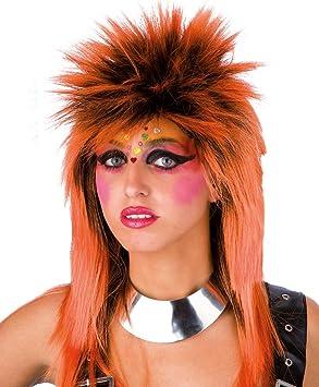 Peluca punk naranja adulto - Única