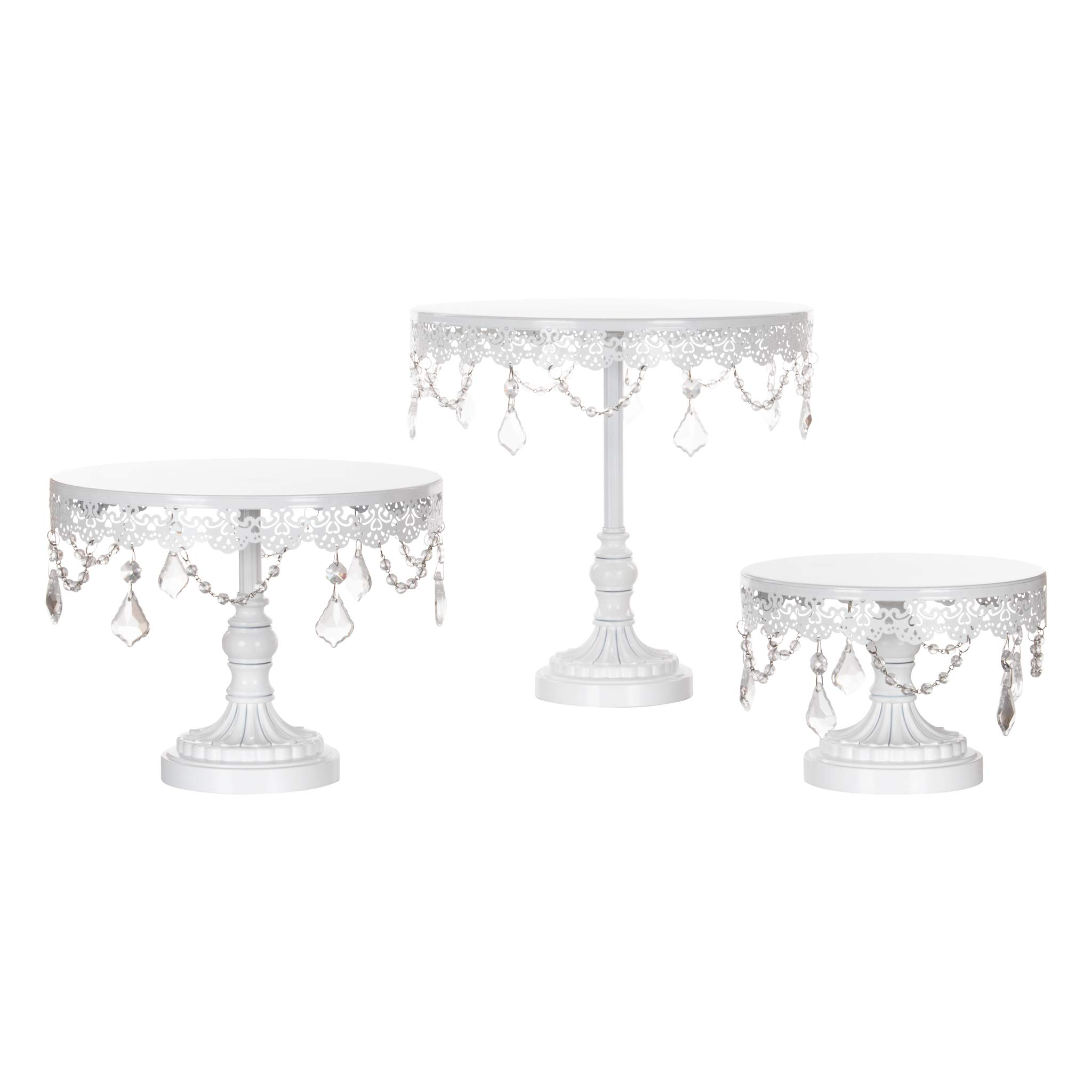 Amalfi Decor Cake Stand Set of 3 Pack, Dessert Cupcake Pastry Candy Display Plate for Wedding Event Birthday Party, Round Metal Pedestal Holder with Crystals, White by Amalfi Décor